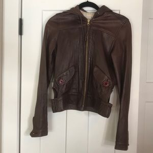 Mike & Chris leather hooded jacket